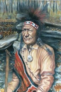 "Chief Matagha. 24"" x 36"" Oil on Canvas. $1,500 (1)"