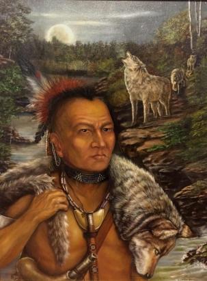 "Mohegan Warrior. 24"" x 30"" Oil on Canvas. $1,500"