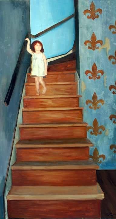 Descending. 2.5' x 4'. Oil on Panel. (In the collection of Sally Jessy Raphael)