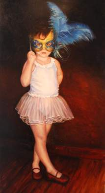 Through Her Mask. 2.5'x4'. Oil on Panel. (In the collection of April Griffin)