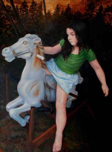 Learning to Ride. 3' x 4' Oil on Panel. $3,500