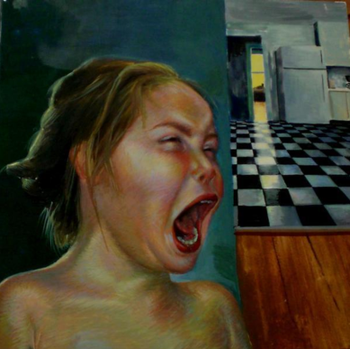 """Reality. 12"""" x 12"""" Oil on Panel. (In the collection of Ruta Parker)"""