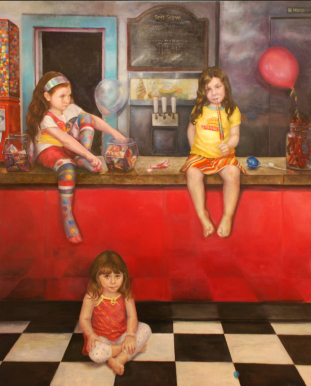 Candy Shop. 4' x 6' Oil on Panel. In the collection of Phyliss Nisbet)