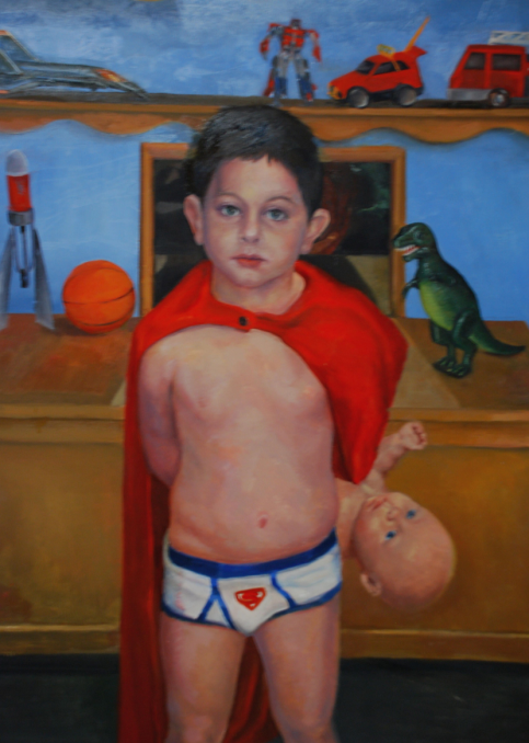 """Boy's Toys. 18"""" x 24"""" Oil on Panel (In the collection of Sally Jessy Raphael)"""